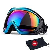 Skibrille, JTENG Ski Snowboard Brille UV-Schutz Skibrille Brillenträger Schneebrille Snowboardbrille Verspiegelt Motorradbrillen Für Damen Herren Mädchen Jungen (Rot(mit Tasche))