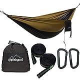 gipfelsport Hängematte - Outdoor Reisehängematte mit Aufhängeset, 2xGurte, schwarz/Oliv