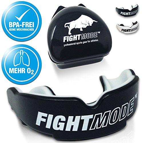 Fight Mode Mundschutz + Gratis Hygiene-Box + Mehr O2 | Zahnschutz Anpassbar, für Erwachsene Wahl Beim Kampfsport, Boxen, Kickboxen, MMA, American Football & Eishockey