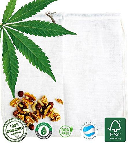 Bio Hanffaser Nussmilchbeutel Ecocasa - die umweltfreundliche Alternative zur Herstellung von Mandelmilch – Haselnussmilch – Saft – veganer Joghurt – Quinoa spülen | INKLUSIVE Anleitung & Rezepte