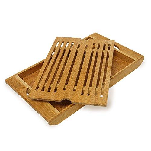 Relaxdays Brotschneidebrett aus Bambus H x B x T: ca. 3 x 37 x 21,5 cm Schneidebrett mit Krümelfach zur leichten Reinigung Brotbrett mit herausnehmbarem Krümelgitter messerschonendes Holzbrett, natur