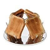 Campingtoaster Justcamp Golden, 4 Scheiben Toast, Toaster Aufsatz für Gaskocher, Campingkocher, teilweise Edelstahl, Silber, faltbar, platzsparend