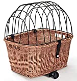 Tigana - Hundefahrradkorb für Gepäckträger Weide Metallgitter Kissen Tierkorb Hundekorb für Fahrrad (50 x 38 cm - (N-S))