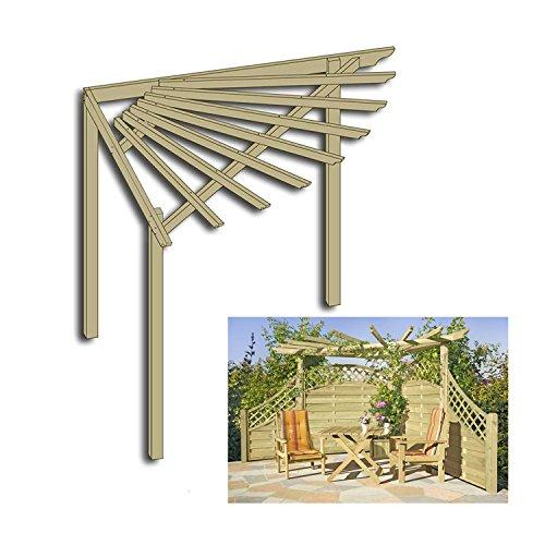 Eckpergola 240 x 240 x 220 cm Pergola aus Holz für Terrasse Gartenecke von Gartenpirat