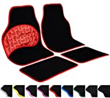 WOLTU AM7148 Auto Fußmatten Set, Teppich & PVC, Trittschutz im Pedalbereich, Rutschfeste Klettbefestigung, 4-teilig, universal, Luxus Design, rot umrandet