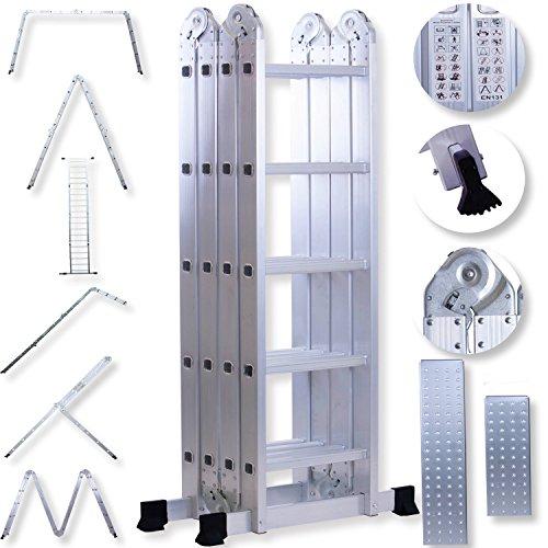 Masko 6in1 Mehrzweckleiter 5.56M ALU Anlegeleiter Klappleiter Stehleiter Aluminium Modell: 4 x 5 Stufen mit Plattform