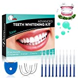 Teeth Whitening Kit Dental Bleaching Professionelle Zahnaufhellung Kit Teeth Bleaching Kit Zahn Bleaching-10x 3ML Whitening GEL, 1x LED Light, 2x Mouth Trays, 1x Lab Dip & 5x Free Teeth Wipe