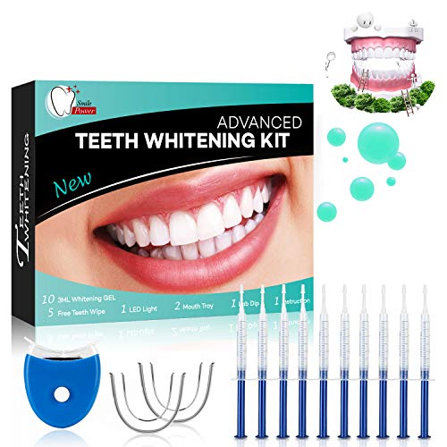 Teeth Whitening Kit Dental Bleaching Professionelle Zahnaufhellung Kit Teeth Bleaching Kit Zahn Bleaching-10x 3ML Whitening GEL, 1x LED Light, 2x Mouth Trays, 1x Lab Dip & 5x Free Teeth Wipe