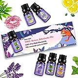 Ätherische Öle Set, Duftöle für Diffuser und Aromatherapie, 100% Reines Bio naturrein Aroma-Öl, 6 Verschiedene Aromen - Lavendel, Teebaum, Eukalyptus, Zitronengras, süße Orange, Pfefferminze