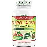 Acerola 1500, natürliches Vitamin C - 180 Kapseln, 1500 mg Acerola Fruchtpulver pro Tagesportion, Hochdosiert mit 25% Vitamin C Anteil, Laborgeprüft, 100% Acerola Kirsche ohne unerwünschte Zusatzstoffe, vegan, Vit4ever