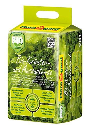 Floragard Bio Kräuter- und Aussaaterde 20 L • torfreduzierte Bio-Spezialerde • mit Bio-Naturdünger und Perlite • für Aussaaten, Jungpflanzen und Kräuter wie Basilikum, Thymian, Oregano, Lavendel, Minze