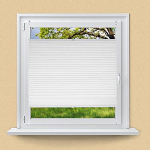 ECD Germany Plissee 80 x 100 cm Weiß Klemmfix ohne Bohren für Sonnen- und Sichtschutz Weiß inkl. Befestigungsmaterial EasyFix Jalousie Verdunklungsrollo Rollo