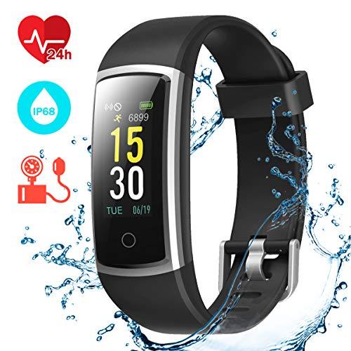 CHEREEKI Fitness Armband, Fitness Tracker mit Pulsmesser IP68 Wasserdichter Farbbildschirm Aktivitätstracker Fitness Uhr mit Blutdrucküberwachung Schrittzaehler Uhr Smart Watch Anruf SNS SMS (Schwarz)