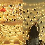 Amteker LED Foto Clip Lichterketten für Zimmer, 100 LED 10M Bilderrahmen dekor für innen, Haus, Weihnachten, Hochzeit, Schlafzimmer (Mit 50 Holzklammern & 20 Nägeln)