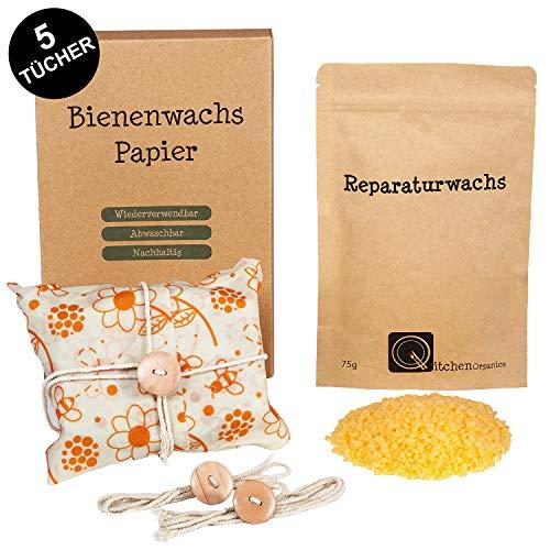 Qitchen Wiederverwendbares Wachspapier für Lebensmittel [XL 5er Set] - inkl. Reparaturwachs, Deutscher Anleitung und praktische Verschlussschnüre - Plastikfreie Zero Waste Wachstücher aus Bienenwachs