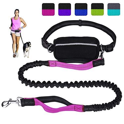 Premium Hundeleine zum Laufen Spazieren, Dual Griffe Joggingleine mit Reflektierende Nähte und kotbeutelspender, Hundeführleine mit verstellbar für große Hunde geeignet,Freihändig und Stoßdämpfende