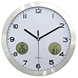 Touchmark Funk-Wanduhr Küchenuhr (leise, 30cm groß, modernes Ziffernblatt) Küchenwanduhr Silber