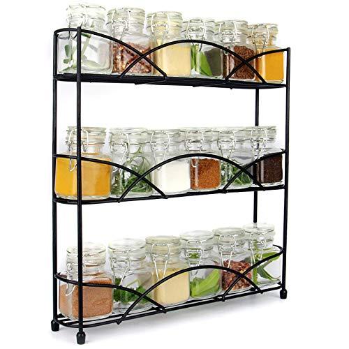 Maison & White 3 Tier Herb & Gewürzregal Organizer | Frei stehendes rutschfestes modernes Design | Universelles Design | Kitchen & Pantry Aufbewahrungslösung |Schwarz