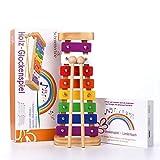 SCHMETTERLINE harmonisches Xylophon für Kinder aus Holz – Glockenspiel mit Notenheft und 2 Holz-Schlägeln – Musikinstrument ab 3 Jahren mit wundervollen Klängen