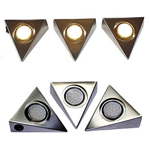 Komerci CL9D5050-CT LED-Unterbau-Set Prisma 12W 3 LED-Strahler warmweiß je 4W, Netzteil Kabel Schalter