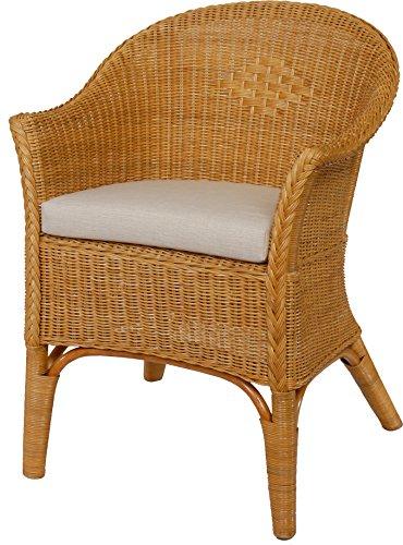 Rattan-Sessel Natur in der Farbe Honig Korb-Sessel inkl. Polster Beige, Rattanmöbel Rattansessel Rattanstuhl mit Armlehnen Lounge