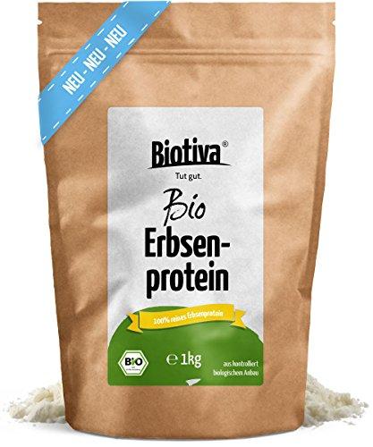 Erbsenprotein-Pulver (Bio,1kg) I 100% Erbsen-Proteinisolat I Höchste Bioqualität I vegane Proteinquelle mit wertvollen essentiellen Aminosäuren I Frei von Gluten, Soja und Laktose I Abgefüllt und kontrolliert in Deutschland (DE-ÖKO-005)
