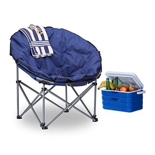 Relaxdays Campingstuhl Moonchair 120 kg belastbar, bequemer XXL Campingsessel faltbar mit Tragetasche, dunkelblau