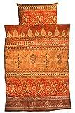 LIVING DREAMS Bettwäsche Indi Baumwoll Satin aufwendiger Bordürendruck absolut hip modernes Landhaus orientalischer Flair Ornamente Terra orange Gold 135 cm x 200 cm