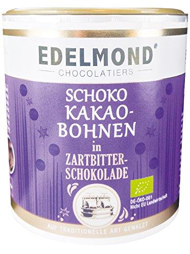 Edelmond Kakaobohnen im Schokomantel. Herbe Dragees mit nur 2 Zutaten. Bio, Vegan & Fair-Trade. Die andere Art Bitter-, Herren- oder dunkle Schokolade zu genießen. 220g