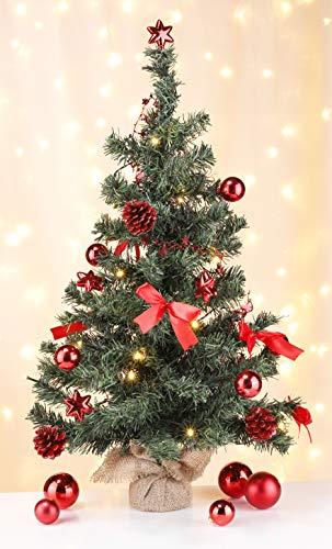 Bambelaa! Künstlicher Weihnachtsbaum Christbaum 75cm komplett geschmückt dekoriert mit Kugeln Sternen Tannezapfen Schleifen Girlande 20er LED Lichterkette 1 Stück Batterie (Rot)
