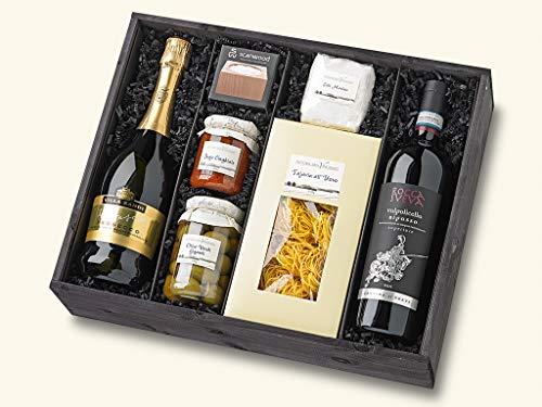 Gefüllter Geschenk-Korb Präsent-Korb / Box Set mit italienischen Gourmet Spezialitäten und Wein