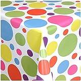 TEXMAXX Wachstuchtischdecke Wachstischdecke Wachstuch Tischdecke abwaschbar (621-00) - 100 x 140 cm - PVC Tischdecke abwischbar, Buntes Punkte Muster in Weiss-Blau-Pink-Lila-Gelb
