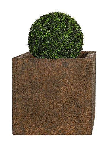 Pflanzwerk Pflanzkübel Fiberglas Cube Rost Braun 28x28x28cm XXL *Frostbeständig* *UV-Schutz* *Qualitätsware*