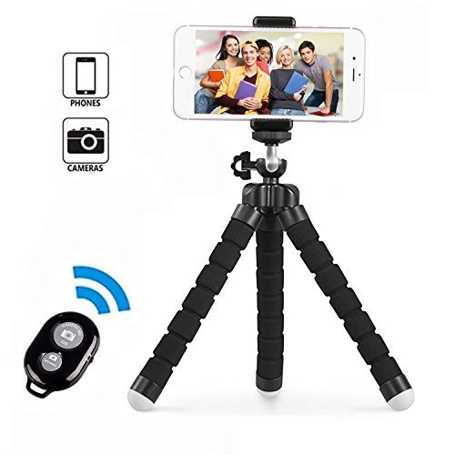 Handy Stativ, Smartphone Stativ, Mini Flexibel Reise Stativ, Handy Halter Halterung für kamera, iPhone, Sumsung und andere Android-Smartphone mit Bluetooth Fernsteuerung Shutter