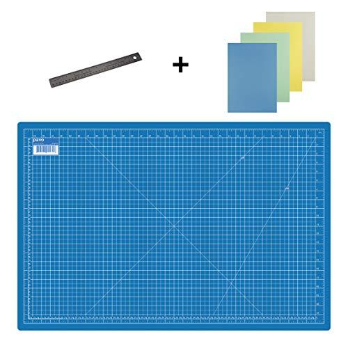 Pavo 8011469 Premium Set Schneidematte - 90x60 cm (A1) Blau + Lineal 30 cm + 20x Art & craft Papier - Premium-Qualität - für professionelle Schnittarbeiten