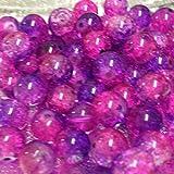 50Stück 10mm Crackle Glasperlen in-pink & lila-A2020