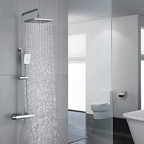 Umi. by Amazon - Duschsystem mit Thermostat Regendusche Duschset Duscharmatur Dusche Duschsäule inkl. verstellbarer Duschstange, Handbrause, Duschkopf