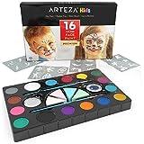 Arteza Kinderschminke Set — Schminkpalette 16 Schminkfarben — Gesichtsfarbe für Facepainting — Schminkset mit Pinsel Schablonen Schwämmen und Glitter