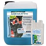 AQUALITY Wasseraufbereiter POND 5.000 ml (GRATIS Lieferung innerhalb Deutschlands - Gartenteich Wasserpflege und Aufbereiter mit Aloe Vera + Vitamin B direkt vom Hersteller. Für den perfekten Wasserwechsel und bei Neueinrichtung)