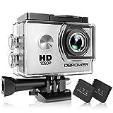 DBPOWER Action-Kamera wasserabweisend 1080P HD 12MP KIT 2 Akku und verschiedenes Zubehör weiß
