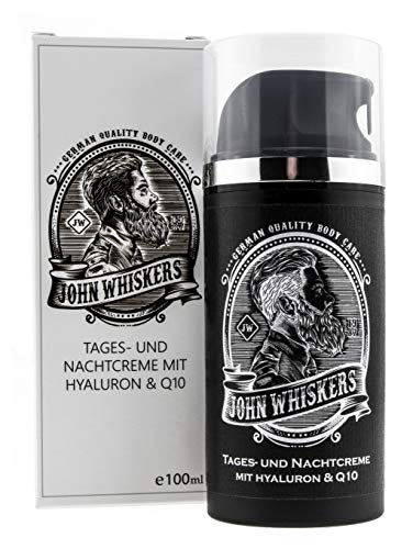 John Whiskers Tages- und Nachtcreme - Made in Germany - mit Hyaluron und Q10 - for Men