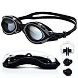 Schwimmbrille, 100% UV-Schutz Schwimmbrille für Erwachsene, Antibeschlag, verspiegelte Gläser mit verstellbarer Silikonband Ikl. Nasenklammer, Ohrstöpsel & Aufbewahrungsbox