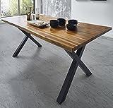 SAM Esszimmertisch 120 x 80 cm Phoenix, Akazienholz, nussbaumfarben, Schwarze X-Beine aus Metall, echter Baumkantentisch, Unikat