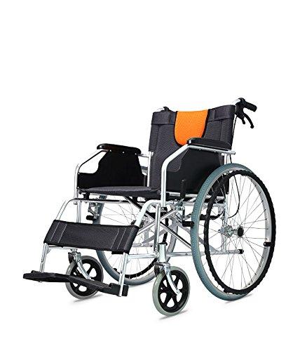 Polironeshop Ligera Klappbarer Rollstuhl für Personen mit körperlichen Beeinträchtigungen und ältere Menschen, Schwarz/Orange