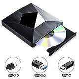 PiAEK Externes CD DVD Laufwerk Tragbarer USB 3.0 und Typ C DVD Brenner CD-RW/DVD-RW Externer CD Reader Writer Player für Windows XP/10/8/7, Mac OS, Laptop, PC