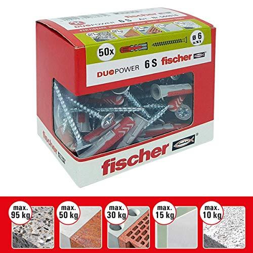Fischer-Dübel Duopower mit Schraube, grau, 544016