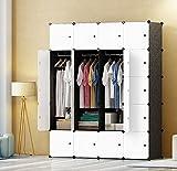 PREMAG DIY tragbarer Kleiderschrank, modularer Speicher-Organisator, Raumersparnis Armoire, tieferer Würfel mit hängendem Rod 20 Würfel