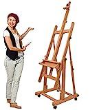 Artina Profi Atelierstaffelei Verona als Studio-Staffelei auf 4 Rollen, massives Buchen-Holz für Keilrahmen bis 210 cm