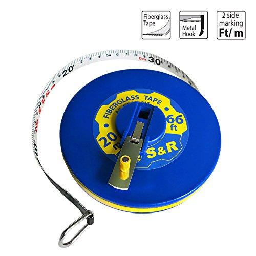 S&R Bandmaß Fieberglas 20m/66 Ft, Breite 13mm, Rollmassband METER und ZOLL doppel Seiten markiert, Kapselbandmass