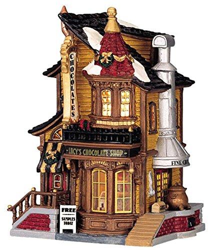 Lemax Lucys Chocolate Shop - Beleuchtetes Schokoladengeschäft - 13,50cmx18cmx10,40cm - Batteriebetrieben - Christmas Village - Weihnachtsdorf